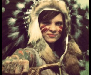 face paint, feathers, and girl image