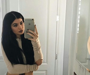 grey sweatpants, kylie jenner, and flawless makeup image