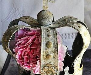 crown, pink flower, and metal crown image