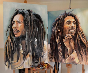 art, bob marley, and drawing image