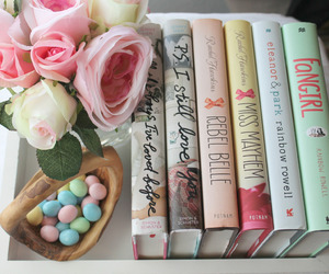 book, flowers, and candy image