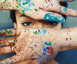 girl, paint, and colors image
