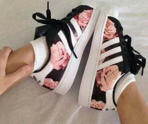adidas, shoes, and floral image