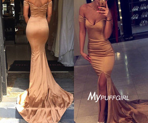 off the shoulder, mermaid prom dress, and gold prom dress image