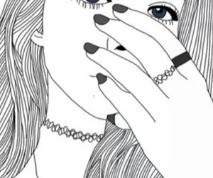 girl, outlines, and black and white image