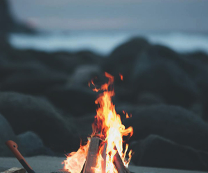 beach, camping, and flame image