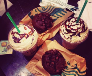 muffins, frapuccino, and paris image