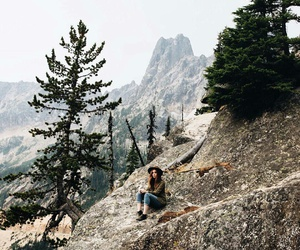 beautiful, girl, and mountains image