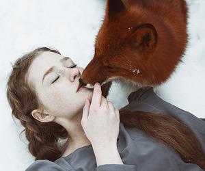 fox, girl, and animal image