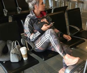 adidas, airport, and hair image