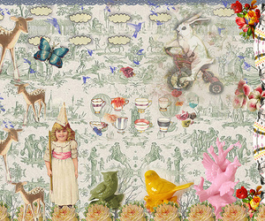 Collage, green, and toile de jouy image