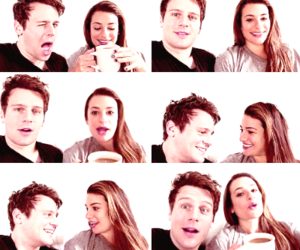 jonathan groff, lea michele, and friends image