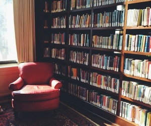 armchair, books, and library image