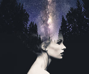 galaxy, girl, and stars image