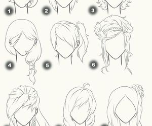different hair, drawing hair, and hair sty image