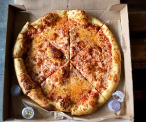 cheese, pizza, and yummy image