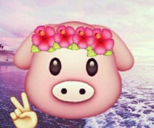peace, emoji, and pig image