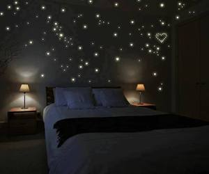 bedroom, stars, and light image