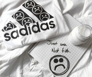 adidas, sad, and white image