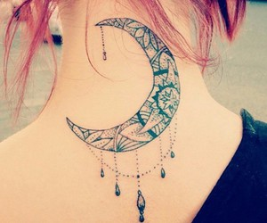 tattoo, moon, and tatoo image