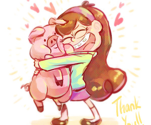 waddles, gravity falls, and mabel pines image