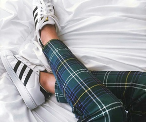 plaid pants, adidas sneakers, and green plaid pants image