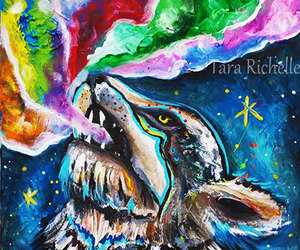 etsy, native american, and wolf painting image