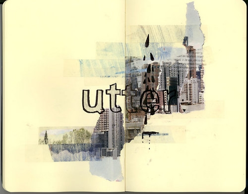 Collage, ink, and moleskine image