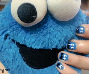 blue, cookie monster, and nail image