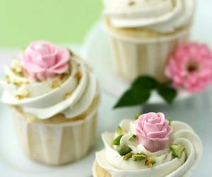 cupcake, rose, and food image