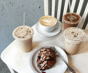 iced coffee, croissants, and latte coffee image