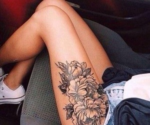 tattoo, flowers, and leg image
