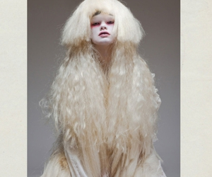 hair piece, makeup, and white hair image