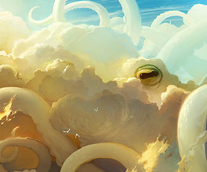 clouds, art, and octopus image