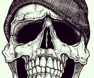 skull, black and white, and hipster image