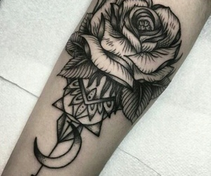 tattoo, rose, and moon image