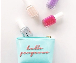 beauty, nail polish, and makeup bag image