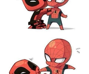 deadpool, spiderman, and Marvel image