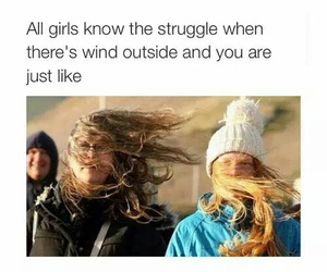 funny, girl, and wind image
