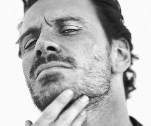 michael fassbender, actor, and black and white image