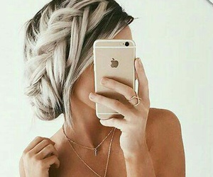 hair, hairstyle, and iphone image