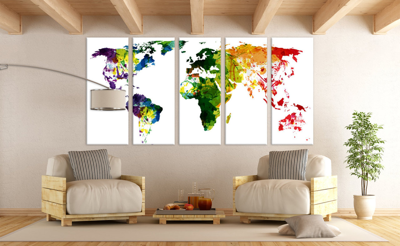 Large world map panels poster decor canvas world map print multi large world map panels poster decor canvas world map print multi panel wall art world map for home office wall art interior wall decor gumiabroncs Image collections