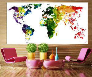 canvas print, etsy, and world map poster image