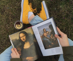 book, art, and yellow image