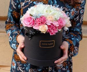 box, flowers, and pink image