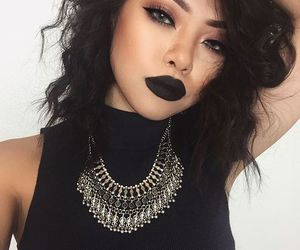 makeup, black, and hair image