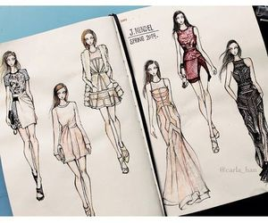 drawing, sketchbooks, and fashion drawing image