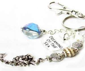 dreaming of the sea, beach keychain, and mermaid keychain image