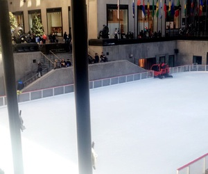 flags, ice skating, and new york city image
