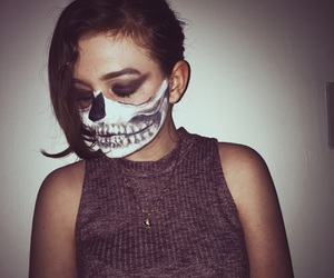 grunge, makeup, and skeleton image